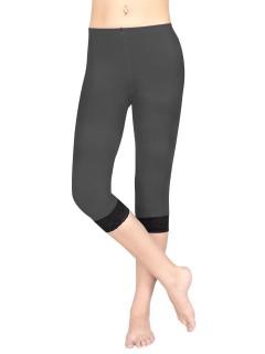 Damen-Leggings mit Spitze grau-schwarz
