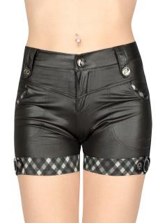 Gothic-Hotpants kariert mit Herzen schwarz-silber