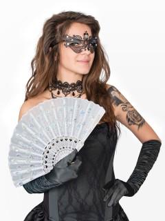 Fächer mit Pailletten Kostüm-Zubehör weiss