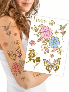 UV-Farbwechsel Tattoos Metallic Schmetterlinge und Kolibri 9 Stück gold