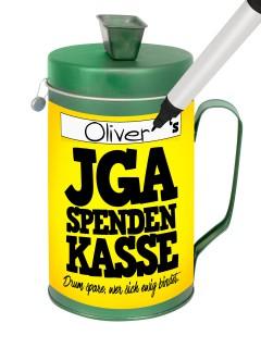 JGA-Spendenkasse Sammelbüchse individualisiert für den Junggesellen- und Junggesellinnenabschied grün-gelb-schwarz 9x9x16cm