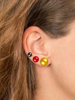 Deutschland Perlen Ohrringe Ohrstecker 3 Paare schwarz-rot-gelb