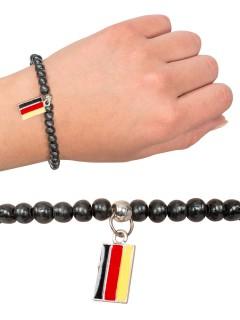 Deutschland Perlen-Armband Fussball Fanartikel schwarz-rot-gelb