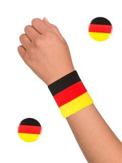 Deutschland Fussball Fan-Set Buttons und Schweissband 3-teilig schwarz-rot-gelb
