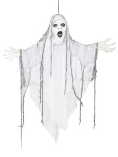 Schauriger Geist Halloween-Hängedeko leuchtend weiss 110cm