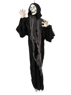 Schauriger Sensenmann mit Leuchtaugen Halloween-Dekofigur schwarz 153cm