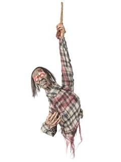 Aufgehängter Zombie-Oberkörper Halloween-Hängedeko weiss-rot 80cm