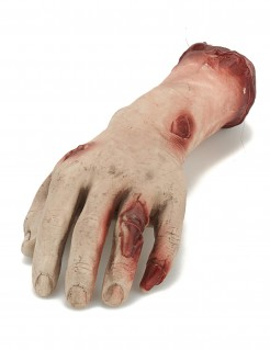 Abgehackte Leichen-Hand Halloween-Deko beige-rot 26x10x5cm