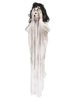 Schauriges Geister-Mädchen animiert Halloween-Hängedeko weiss-schwarz 90cm