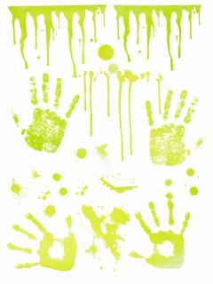 Nachtleuchtende Geister-Handabdrücke Halloween-Deko grün 70x25cm