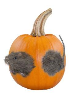 Schaurige Riesen-Ratte mit Fell Halloween Kürbis-Deko grau 21cm