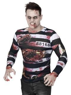 Zombie Sträfling Halloween-Shirt Gefangener schwarz-weiss-rot