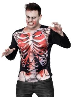 Zombie Skelett Halloween-Shirt schwarz-weiss-rot