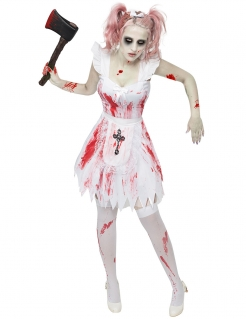 Zombie Brautjungfer Halloween Damenkostüm weiss-rot-schwarz