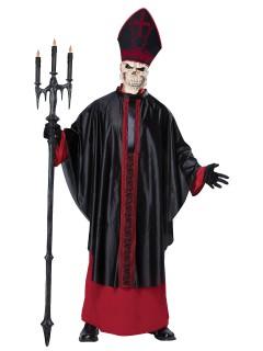 Dunkler Horror-Papst Halloweenkostüm Skelett schwarz-rot