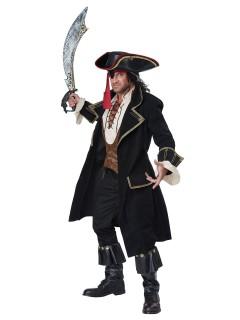 Eleganter Piraten-Kapitän Deluxe Kostüm schwarz-gold