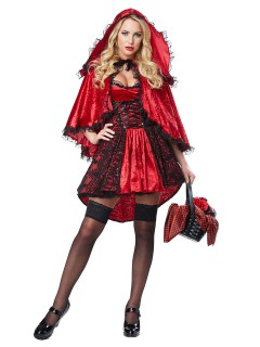 Elegantes Rotkäppchen Damenkostüm Märchen Deluxe rot-schwarz