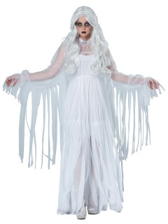 Elegante Geisterfrau Halloween-Damenkostüm Gespenst weiss