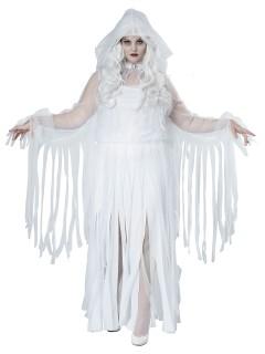 Elegante Geisterfrau Plus Size Halloween-Damenkostüm Gespenst weiss