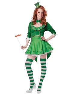Irische Glücksfee Damenkostüm Kobold weiss-grün