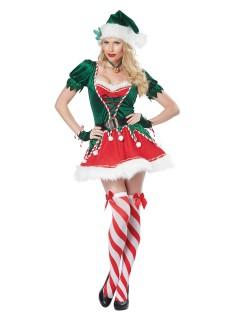 Sexy Weihnachtself Damenkostüm Wichtel grün-rot-weiss