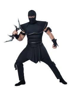 Gefährlicher Ninja Krieger Kostüm Asien schwarz