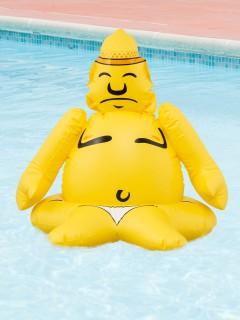 Ausblasbarer Buddha Deko-Geschenkartikel gelb 36x24x12