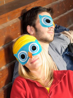 Plüsch-Schlafmaske Eule blau-weiss 18 x 10 x 1 cm
