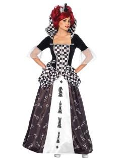 Elegante Schach-Königin Damenkostüm Märchen schwarz-weiss
