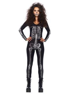 Sexy Skelett Catsuit Halloween-Damenkostüm schwarz-weiss