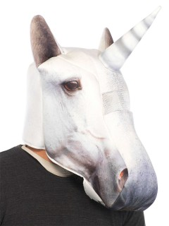 Fotorealistische Einhorn-Maske weiss
