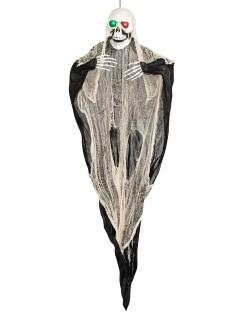 Riesiger Geist mit Leuchtaugen Halloween-Hängedeko Skelett weiss-schwarz 190x169x17cm