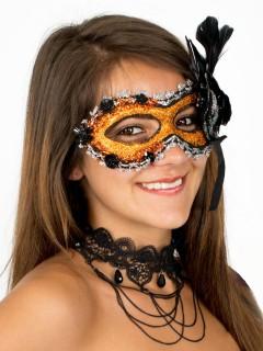 Venezianische Augenmaske mit Glitzer und Federn bunt