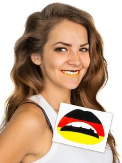 Lippen-Tattoo Deutschland Flagge Fußball-Fanartikel schwarz-rot-gelb
