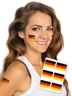Deutschland Flagge Tattoos Fußball-Fanartikel 6 Stück schwarz-rot-gelb
