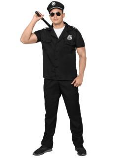 Polizist Komplett-Kostüm Officer schwarz-silber