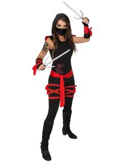 Gefährlicher Ninja Damenkostüm Asien schwarz-rot