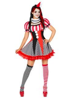 Süsse Harlekin-Frau Damenkostüm Clownfrau schwarz-weiss-rot