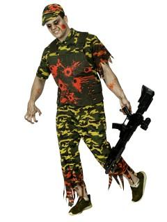 Zombie-Soldat Halloweenkostüm grün-rot