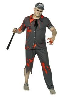 Zombie-Polizist Halloweenkostüm grau-weiss-rot