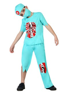 Zombie-Arzt Halloween-Kinderkostüm Arzt türkis-rot