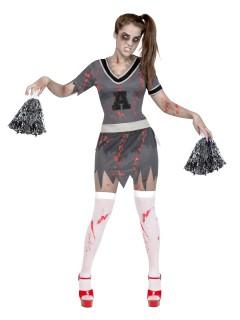 Zombie-Cheerleaderin Halloween-Damenkostüm grau-rot