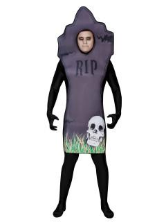 Grabstein Halloweenkostüm grau-schwarz