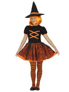 Süsse Hexe Kinderkostüm Zauberin orange-schwarz