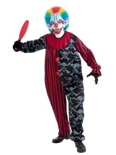 Horror Clown Halloween-Kostüm Zirkus bunt