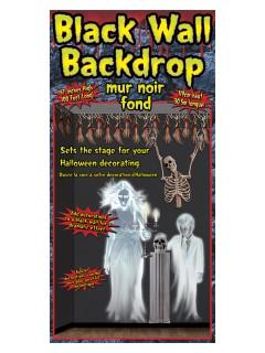 Halloween Wandfolie Partydeko schwarz 30,5x1,2m