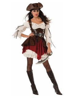 Noble Piraten-Lady Damenkostüm Kapitänin schwarz-weiss-bordeaux