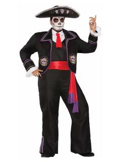 Tag der Toten Skelett Halloween-Kostüm Sugar Skull Plus Size schwarz-bunt