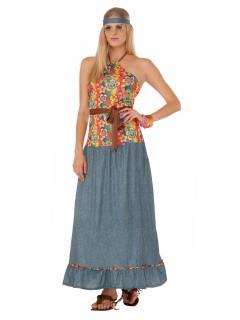 60er Jahre Hippie Damenkostüm Flower Power bunt
