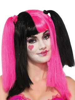 Harlekin Zopf-Perücke mit Pony schwarz-pink